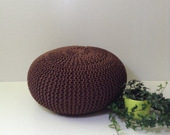 SALE. furniture, knitted pouf,seat, living room, bedroom, home & decor, knitting pouf,brown pouf,cotton cord, brown,footstool