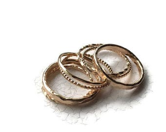 Stackable Gold Ring Set - Gift for her under 100 - 7 Gold Rings - Stacking Gold Filled Bands - Set of 7 Gold Rings  - Wide Ring