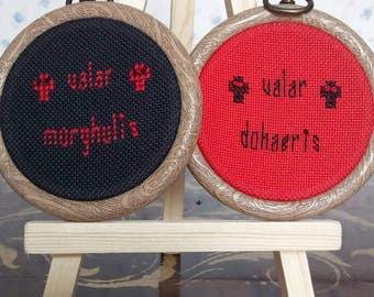 Valar Morghulis and Valar Dohaeris mini cross stitch hoop set