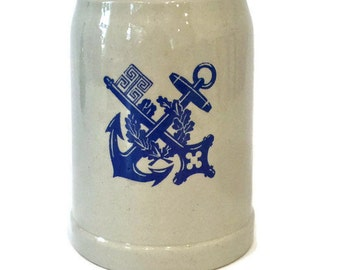 Vintage Beer Mug / Stein with Key and Anchor Crest, Stoneware Made In Europe