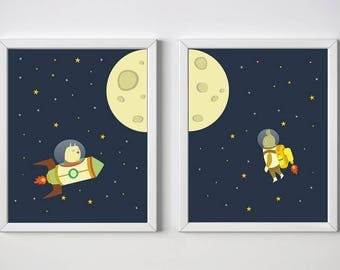 nursery space print, outer space, kids room decor, nursery rocket print, animal print, nursery decor, nursery print,4 SIZES INCLUDED