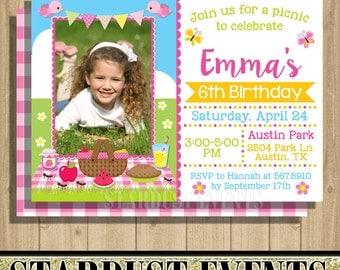 Picnic Birthday Invitation, Picninc Photo Invitation, Picninc Birthday, Picnic Invitation, Picnic Party