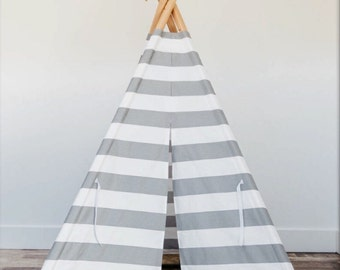 Teepee play tent with wood poles