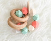 BLACK FRIDAY SALE Handmade Teething Toy Baby Teether Unique Baby Toy Teether Toy Wooden Teether Wooden Toy Silicone Teether Salmon and Mint