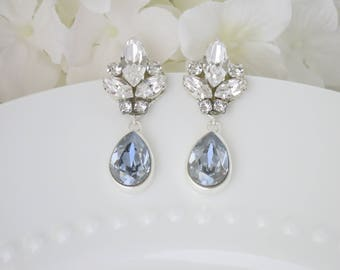 Blue bridal earrings, Rhinestone wedding earrings, Swarovski blue crystal teardrop earring, Crystal drop earrings, Teardrop wedding earrings