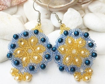 Blue Yellow glass bead earrings, Flower bead earrings, Glass pearl flowers, Floral jewellery