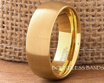 Tungsten Wedding Band Domed Mens Women's His Hers Unisex 8mm Promise Anniversary Engagement Comfort Fit Free Engraving Yellow Gold Plated