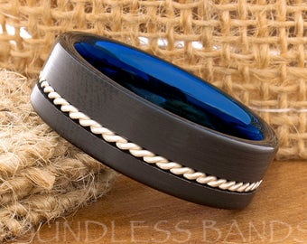 Tungsten Ring Tungsten Wedding Ring Mens Women's Wedding Ring Promise Anniversary Engagement 7mm Black And Blue Woven Silver Inlay Ring New