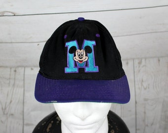 vtg 90s Disney Mickey Mouse Snapback Hat - Adult One Size Fits All Baseball Hat - Cap - Black / Purple / Blue- Rare By Goofy's Hat Co