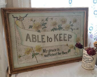 Able to Keep Victorian Religious Print Framed & Glazed Picture Wording Hymn