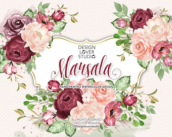 Watercolor MARSALA design, spring watercolor flower, Pink blush Floral Clipart, Wedding Clip Art, wedding, Rose blush,