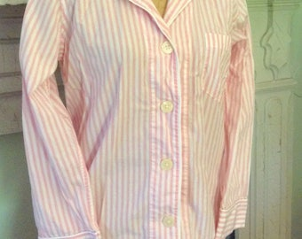 Vintage RALPH LAUREN PINK Ticking Stripe Shabby Pink Pajamas Set French Country Prairie Cottage Chic