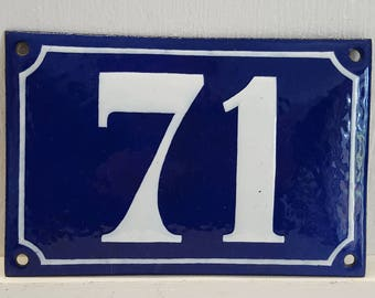 Antique French enamel HOUSE DOOR NUMBER Blue and white 71