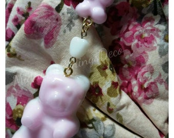 Gummy Bear Sweet Lolita Fairy Kei Gold Metal Bag Charm with Lobster Clasp