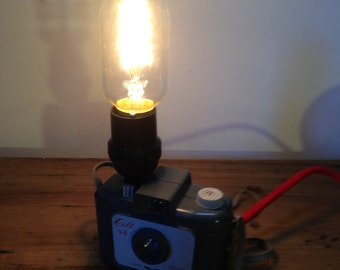 Upcycled Colt 44 Agilux Box Camera Lamp - w/ match red lead and inline switch