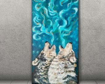 Wolf Canvas - Wolf Print - Spiritual art - Wolf art - Howling Wolf - Blue Wall Art - Animal Lover Gift - Wildlife Art - Animal Wall Decor