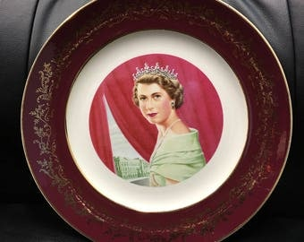 Vintage Queen Elizabeth II Commemorative Plate of the Coronation Of Her Majesty, June 2, 1953, by Allen Hughes, St. Lawrence Pottery Canada