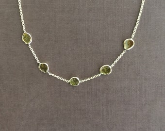 14k solid gold and genuine yellow diamond slices necklace, rose cut diamonds , free form diamonds