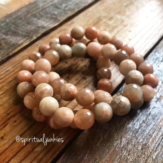 Stackable Funky Chunky 10 mm Mala Inspired Faceted Sunstone + *Optional* Sun Goddess Yoga and Meditation Bracelet (Single Bracelet)