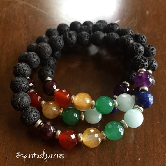 Stackable Mala Inspired Spiritual Junkies Lava Bead + Chakras Essential Oil Diffuser Bracelet (single bracelet)