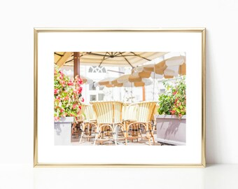 France Photography, Cannes Cafe, Gallery Wall Prints, Large Wall Art, French Country Photo, Large Travel Print, Color Art Print