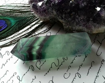 Pretty Rainbow Fluorite Energy Charged Gemstone Crystal Point - Crystal Healing, Aura Cleansing, Focus, Concentration, Brow Chakra Energy