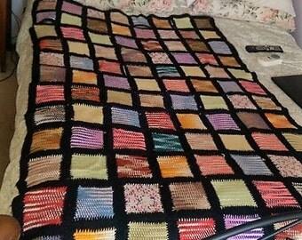 "Vintage Knit Patchwork Quilt 44"" x 66"" Colorful Log Cabin 5.5"" squares 1950's"