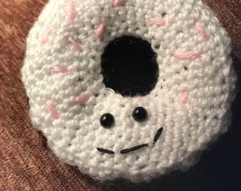 Donut stuffed plushie toy - hand crocheted - made to order