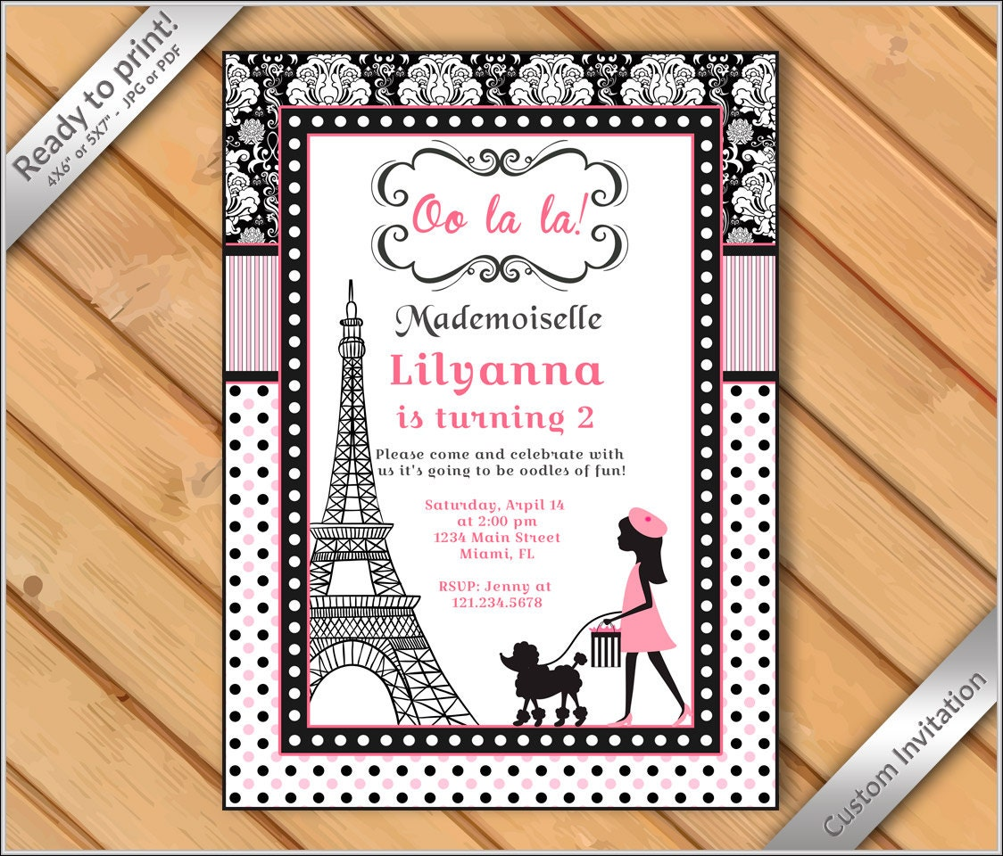 OFF SALE Paris French Poodle Printable Party Invitation - Sample birthday invitation in french