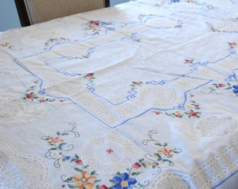 Rectangular Table Cover Synthetic Fabric Machine Printed Design Blue Stamped Crosstiched Flowers Leaves