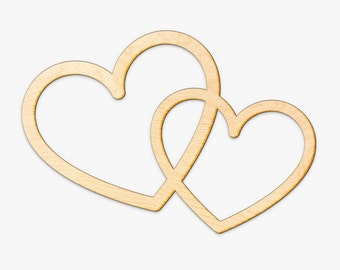Interlocking Hearts Wood Sign -Wood Sign Art, Wooden Love, Love Sign, Laser Cut Wood Sign, Wood Wedding Decor, Love Hearts, Gallery Wall Art