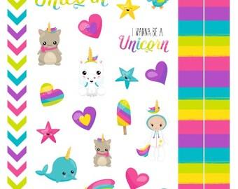 I Wanna Be A Unicorn - A Mix of Bright Rainbow & Glittery Planner Stickers, for Personal, Pocket, ECLP, Kikki.K Filofax, Happy Planner
