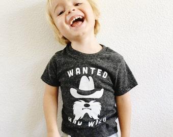 Boy shirt. Cowboy shirt. Toddler tshirt. Wanted and Wild