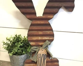 Corrugated Bunny - Spring Decor - Metal Rabbit Decor - Rabbit Wall Hanging - Rustic Easter Decor - Easter Decorations - Rustic Home Decor