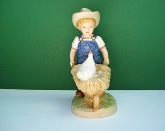 "SALE - Denim Days Collection - Figurine - ""Morning Chores Danny""  by Homco"
