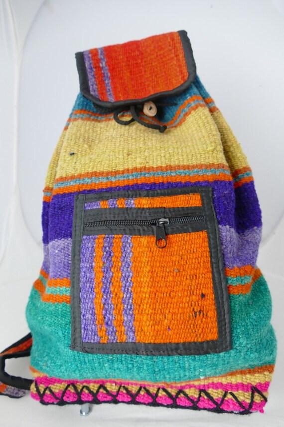 Rucksac / Raw Wool Backpack / Natural Dyes / Artisan Backpack / Cute Backpack / Peruvian Backpack