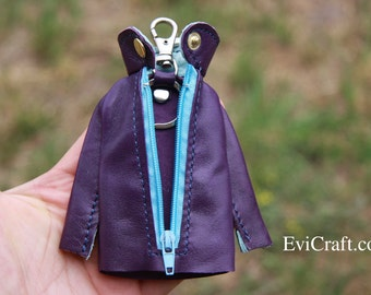 SALE - Leather jacket key case, handmade leather gift, key holder, violet key chain, purple, blue, bag accessories, unique and OOAK
