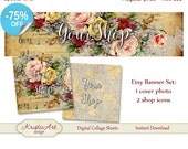 75 % de RÉDUCTION VENTE bannière (photo de couverture) + Boutique icônes - #L007 ensemble. Fleurs numérique Etsy Shop bannière Collage numérique feuille Roses bannière