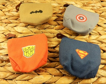 Superhero Coin Purses, Superman Wallet, Batman Coin Purse, Captain America Zip Purse, Transformers Zipper, Canvas Coin Wallet