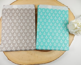 Nautical Themed Wedding Favour Bags, Anchor Paper Bags, Pack of 25, Sweets Bag