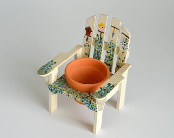 Vintage,Hand Painted,Chair and Pot,Clay Pot,Home Decor Chair,Miniature Clay pot,Miniature Chair,Chair for Plant