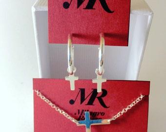 Necklace with horizontal cross pendant. Silver pendant. Silver cross. Handmade