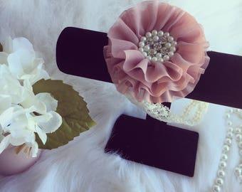 Dusty Rose and Ivory Lace Headband