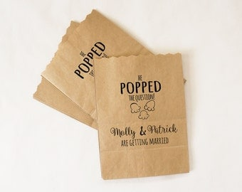 Engagement Party Favor Bags, Popcorn Buffet, Candy Table, Chocolate Bar, Kraft Paper Treat Bags - Custom Names
