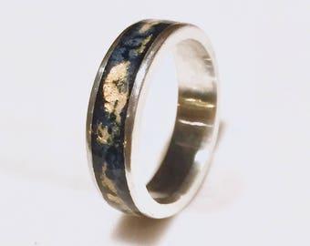 Black & Gold Leaf Enamel Ring