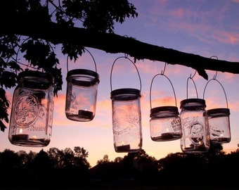 6 Hanging Mason Jar Lantern Light Hangers - Perfect Garden and Wedding Lighting