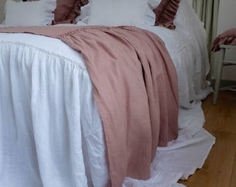 Linen Bed Cover, Linen Blanket, Linen Bed Throw, Ruffled Throw, Linen Bedspread - Gathers Either Side, Antique Rose