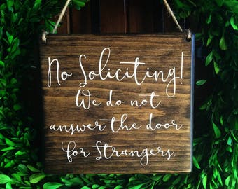 No Soliciting sign | 7x8 | Door Sign | No Soliciting Door Sign | Do Not Disturb Sign | No Solicitation Sign | No Strangers Sign | Door Decor