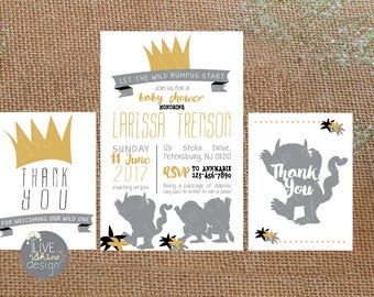 Wild Things Baby Shower Invitation & Thank You - Wild One, Rumpus Begins, Gender Nuetral, Yellow, Grey