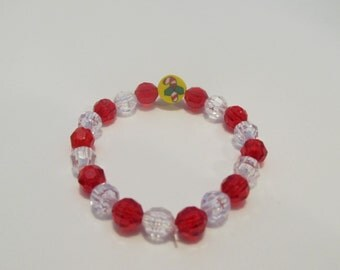 Christmas Candy Cane Beaded Bracelet, Stocking Stuffer, Christmas Gift, Gifts for her, Gifts for girls, Gifts for kids